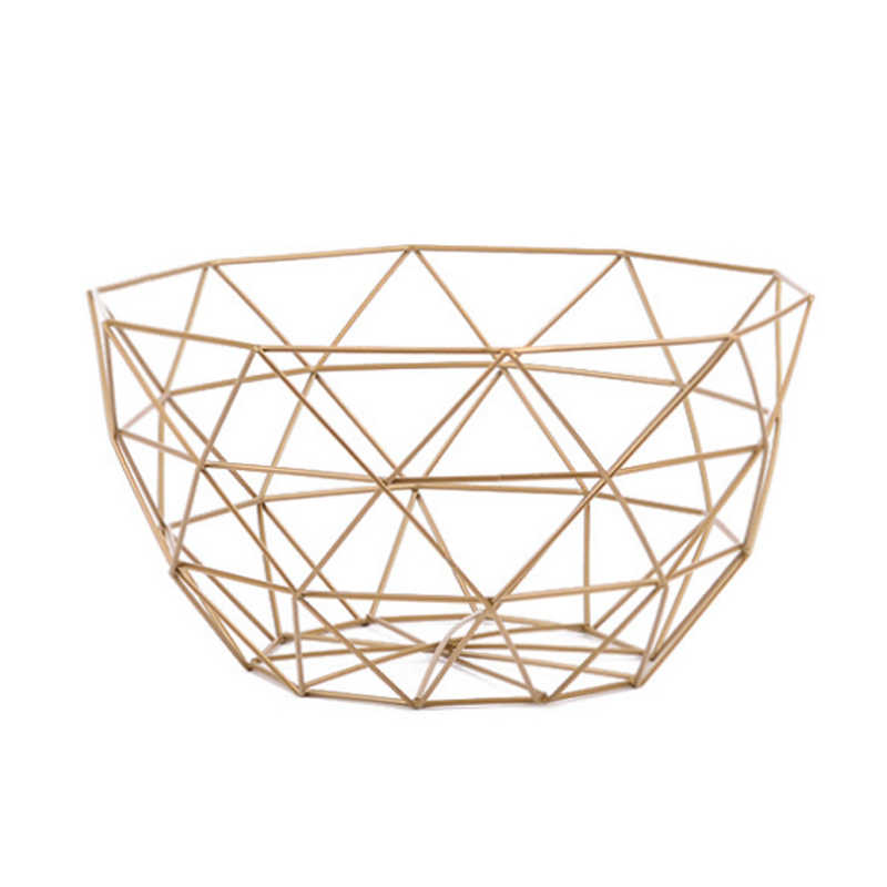 New Nordic Storage Baskets Gold Metal Art Snacks Candy Fruit Basket for Living Room Desktop Kitchen Organizer Basket