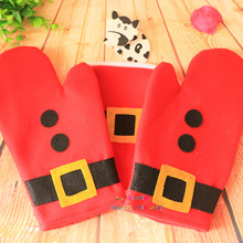 Christmas Decoration For Kitchen Furnishing Microwave Oven Heat Insulation Pad Mat Burn Proof Xmas Baking Gloves Household
