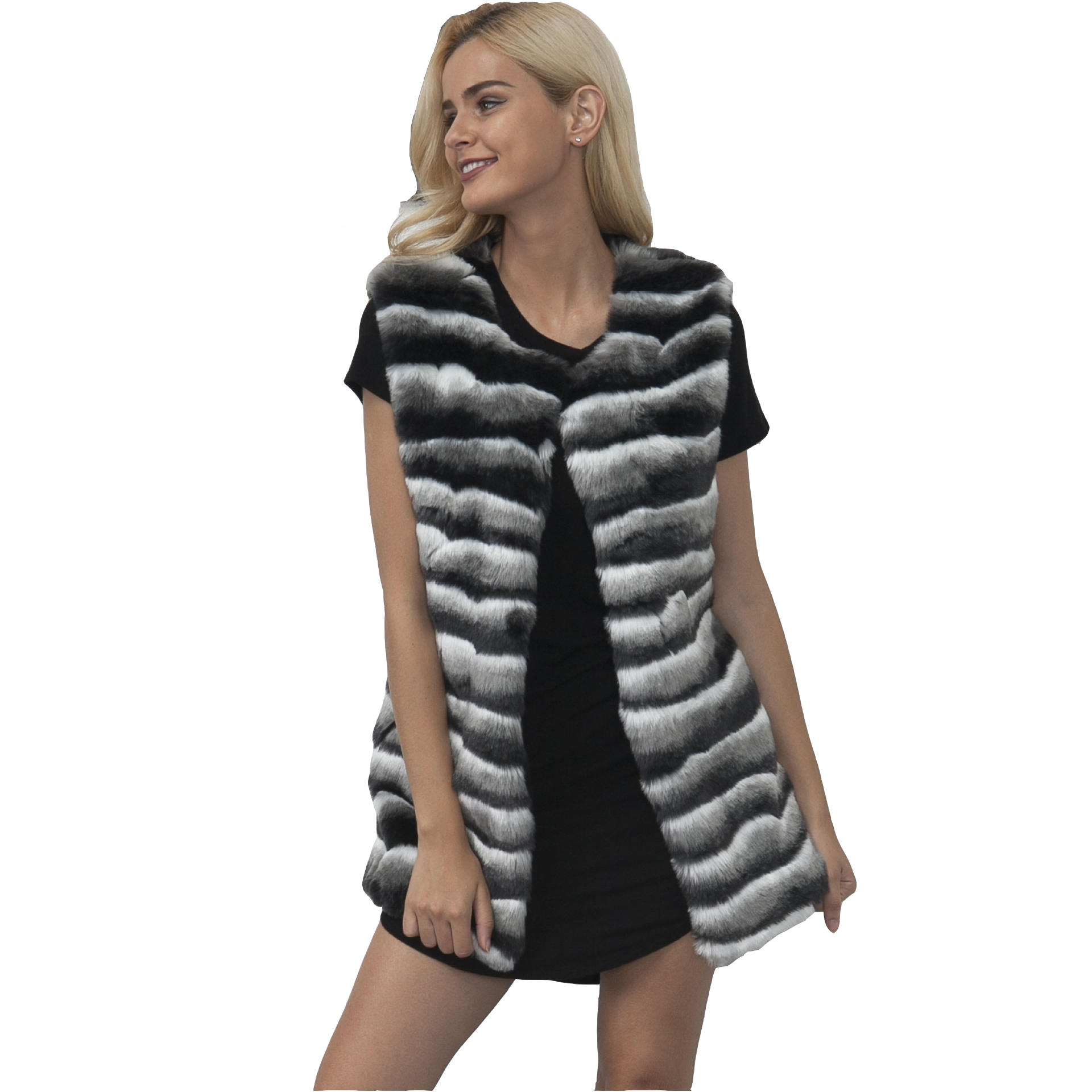 Luxury Fur Vest Winter Sleeveless Jackets Women Rabbit Fur Vests Jacket Womens Vest Volett Bontjas Damen Pelzmantel Fell Weste