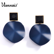 Viennois New Fashion Geometric Blue/Red Metallic Stud Earrings for Women Light Gold Color Black Acrylic Earring Party Jewelry(China)