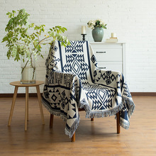 MDCT Navy Blue Jacquard Thick Warm Blankets  Cotton Knitted Carpet Table Sofa Chair Bed Cover Throw  Home Office Decorative