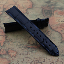 19MM 20MM 22MM Customed Crocodile Leather watchband bracelets dark blue alligator leather strap male handmade custom curved end