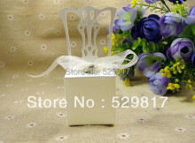 Free Shipping white chair 100pcs Wedding box Candy Box gift box wedding bonbonniere wedding favour boxes Heart Charm and Ribbon(China)