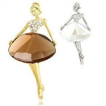 New Girls Fashion Trendy Charming Beautiful Princess Ballerina Brooch Crystal Pins Jewelry Accessories(China)
