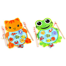 Baby Kids Magnetic Fishing Game Board Wooden Animal Frog Cat Fishing Toy with 2 Fishing Rod