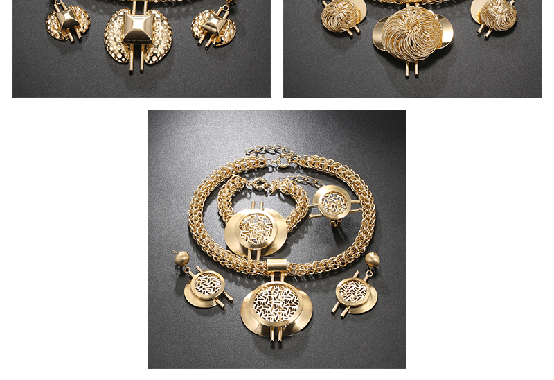 CWEEL Jewelry Sets Fashion Bridal Turkish Jewelry Vintage Antique Big African Jewellery Gold Color Women Indian Jewelry Set (6)