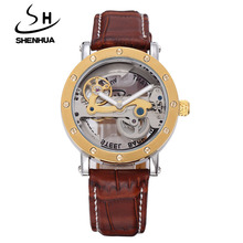SHENHUA Steampunk Transparent Skeleton Crystal Flywheel Automatic Leather Strap Dress Men Mechanical Watch relogio masculino ik(China)