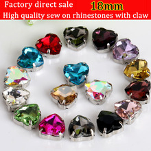 18mm Silver claw sew on rhinestones,heart shape crystal Rhinestone  20pcs/pack