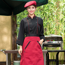 Cook Coat Black Chef Jacket Restaurant Work Clothes Unisex Long-sleeved Chef Coat Outfit Fast Food Work Wear Women Overalls(China)