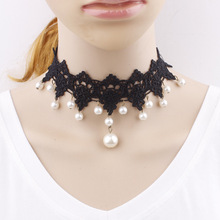 New Fashion Elegant Vintage Imitation Pearl White Lace Statement Choker Necklaces Bridal Jewelry For Women Wedding C77