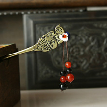 Ethnic Jewelry Handmade Bronze Mandarin Duck Hair Sticks Glass Shell Beads Step Shake Women Headwear Hair Accessories