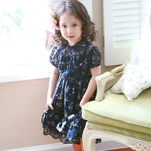2017 summer girls floral dress cute chiffon size 90 ~150 cm baby teens 10 years old clothes kids(China)