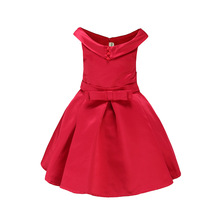 2017 Summer Girls Dress fashion children's party Dresses girls Vestidos princess Costumes Red baby Luxurious dress with belt