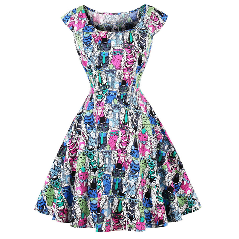 Chic retro 1950s 60s dress whole-body cute cats print pin rockabilly party dress plus size 4XL vintage Hepburn robe vestidos