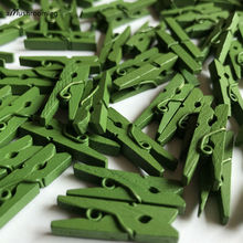 25 x Forest Green 1 Inch Mini Clothespins Small Wooden Craft Pegs Outdoor Party Wedding Birthday Party Decoration(China)