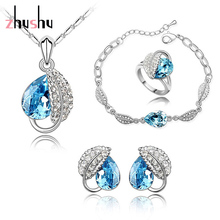 Free Shipping Retail Fashion Austrian Crystal white gold color Bridal Wedding Heart Leaf Jewelry Sets Necklace/Earrings/Ring