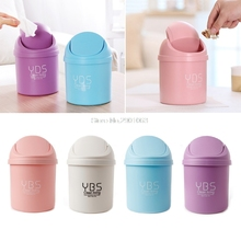 Cute Mini Small Waste Bin Desktop Garbage Basket Table Home Office Trash Can #073125#(China)