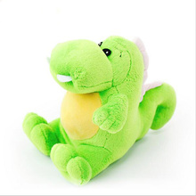 Wholesale Pet Dog Plush Toys Dragon Dog Squeakers Toys Yellow and Green Height 14cm Pet Dog Training Chew Toys free shipping(China)