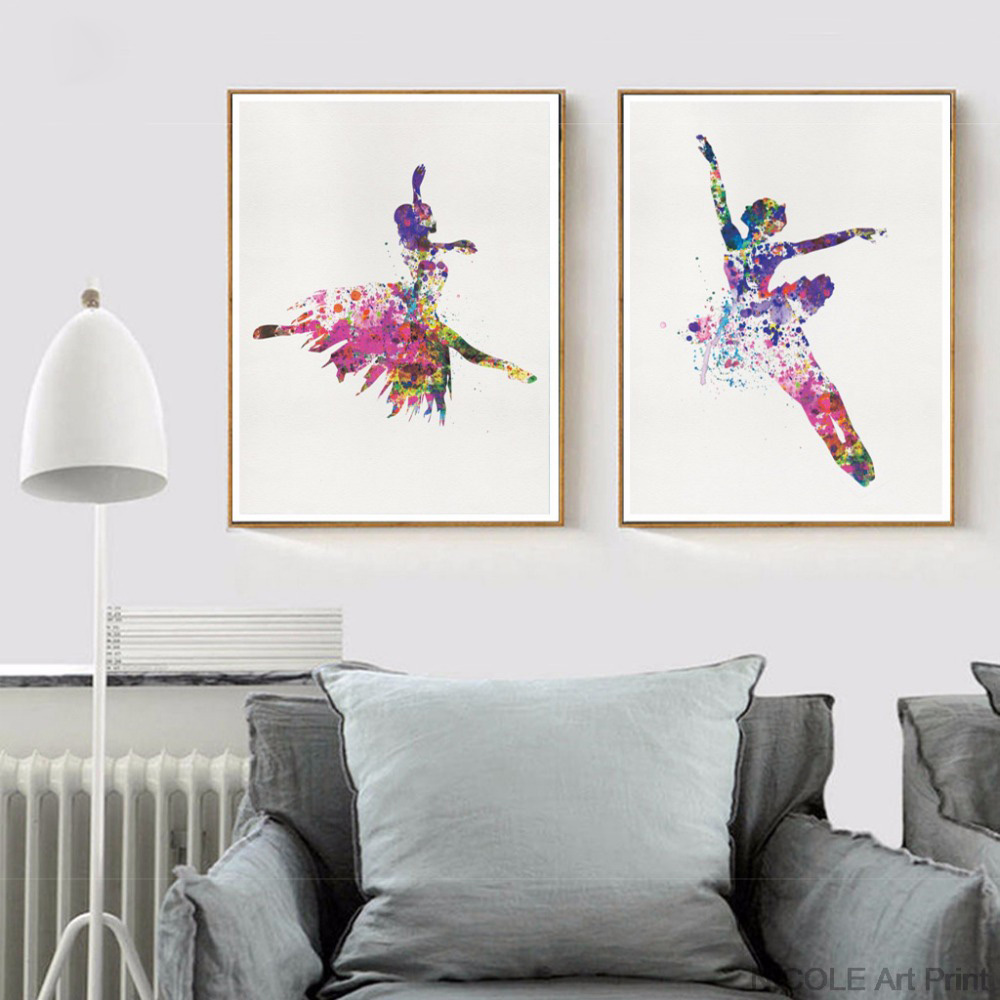 Ballerina-Ballet-Dance-Girl-Minimalist-Art-Canvas-Poster-Painting-Watercolor-Picture-Print-for-Modern-Home-Living