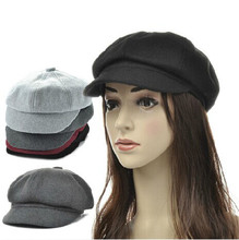 Wool visor newsboy beret hat Flat Cabbie Golf Driving cap visor baker boy hat(China)