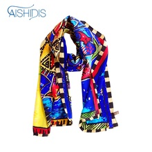 Aishidis Ladies' Long Silk Scarf Office Clothes Accessory Luxury Brand Fashion Shawls Wraps Cat Sun Printing Design In Blue