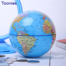 Blue Crystal Clear Globe Study Piggy Bank Beauty Pvc Creative Home Furnishing Kids Living Room Ornaments Money Box Coin Savings(China)