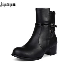 Special offer EUR size 40 41 42 43 44 45 46 47 48 round toe square heels fashion design women shoes high quality PU lady Boots
