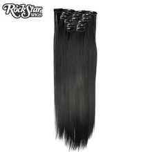 Rockstar Wigs 16colors long Straight 16 clips in Synthetic Hair Extension Black Brown 5Clips in False Hairpieces