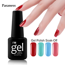Paraness 8ml Soak off Gel Polish 29 Lucky Colour Nail Gel Lacquer Art Long Lasting Gel Nail Polish Varnish Semi Permanent(China)