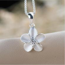 High quality plum Austrian crystal necklace 925 sterling silver pendant necklace jewelry zircon female for flower. t0101