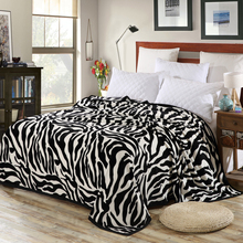 Super Comfortable Soft Mink Felting Blanket Zebra Striped Pattern Floral Blanket Thrown On The Sofa / Bed / Travel Breathable(China)