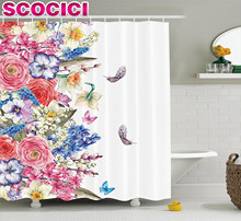 Flower Shower Curtain Vintage Vivid Wreath with Daffodils Hyacinths Chamomile Lilies Butterfly Picture Fabric Bathroom Decor Set