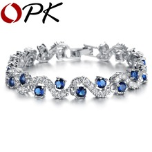 OPK JEWELRY Fashion EU Style Silver Color Blue Crystal Stone Bracelets & Bangles Luxury Romantic Wedding Jewelry Gift, DS931(China)