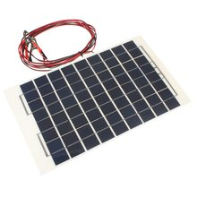 12V 10W Solar Panel PolyCrystalline Transparent Epoxy Resin Cells DIY Solar Module With Block Diode 2 Alligator Clips 4m Cable