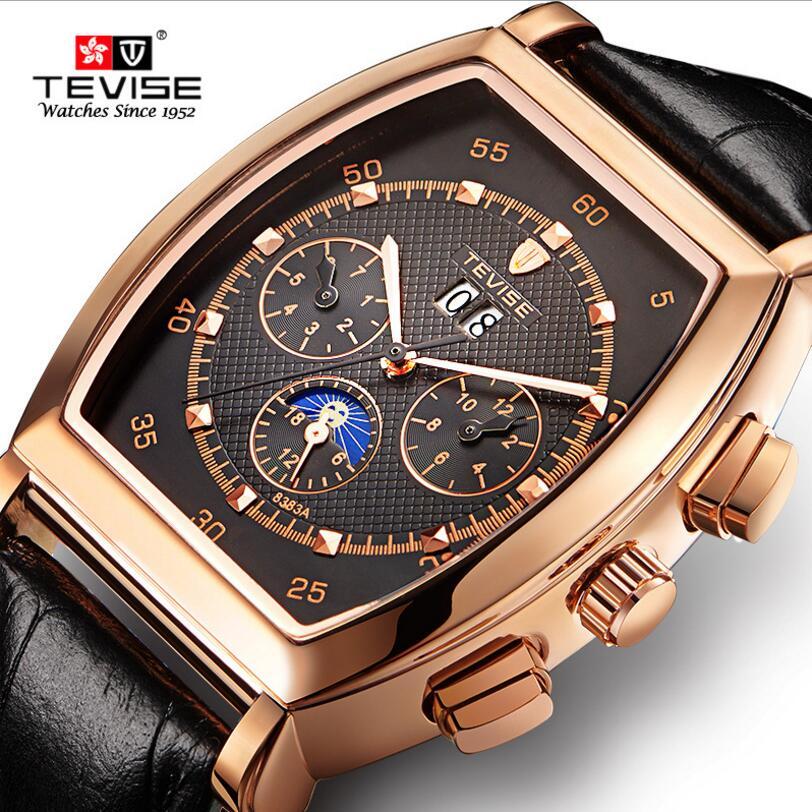 Original Tevise Erkek Kol Saati Horloge Mens Day/Week/Month Moonpahse  Auto Mechanical Watches Wristwatch Gift Box Free Ship<br>
