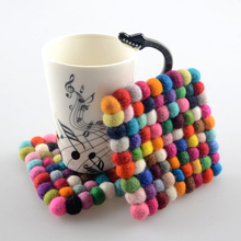 2Pcs/lot 10*10*1cm Handmade Wool Felt Ball Trivet Table Heat Resistant Mat Cup Round Coaster PA32796837(China)