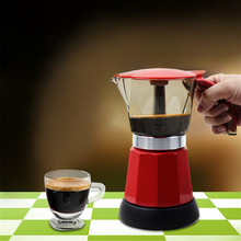 6 cups Electric Coffee Maker Filter Coffee Pot Electric Moka Kitchen Coffee Filter Tools Red Blue Mocha Italian Espresso Machine