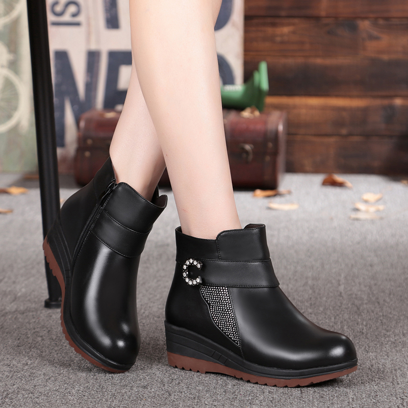 Wool Lining genuine leather mom snow boots, high quality winter ankle boots women diamond slope with non-slip, free shipping<br><br>Aliexpress