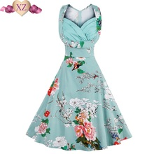 Vintage Elegant Women Dress V-Neck High Waist Big Bust Design Sleeveless Casual Patchwork Party Midi Pleated Swing Dress JXD88
