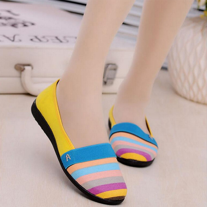 New Women Flats Moccasins Casual Shoes Female Candy Color Stripe Loafers Mother Slip On Soft Flat Shoes Spring Ladies Shoes(China)
