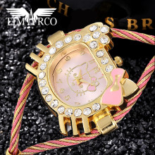 Hello kitty Cute Enfant Ceasuri Animal Shape Dial Girls Watches Luxo Diamond Bangle Clocks Children Day Gift Brand Women Hodinky