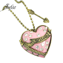 Jufee Sweet Lovely Jewelry Antique Gold-Color Chain With Pink Heart Openable Box Rhinestone Arrow Pendent Necklace For Women