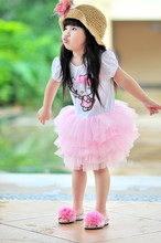 Retail free shipping Summer new fashion pink / red  baby girl dress  kitty cute dress kids tutu dresses Size 2T-6T