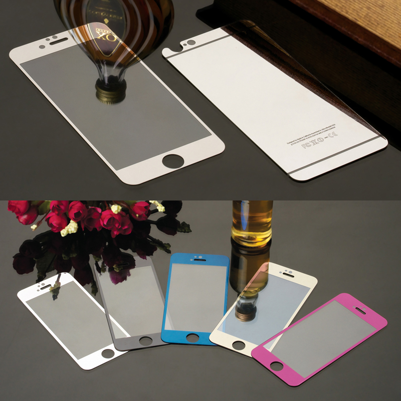 2PCS Front Back Colorful Tempered Glass Film For font b iphone b font 4 4s 5