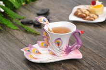 1 Pcs Peacock Coffee Cup Ceramic Creative Mugs Bone China 3D Color Enamel Porcelain Cup with Saucer and Spoon Coffee Tea Sets(China)