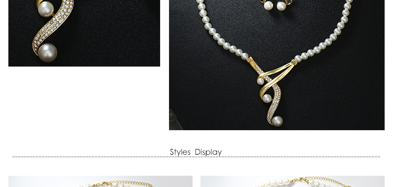 CWEEL Wedding Jewelry Sets Simulated Pearl Jewellery Sets For Women Fashion African Beads Jewelry Set Statement Necklace Set (3)