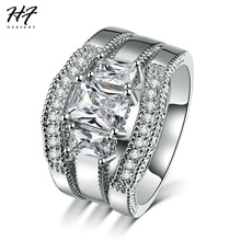 HERFANS New Fashion Square Cut Cubic Zirconia White Gold Color 3 Pieces Ring Sets Luxury Engagement Rings for Women R645