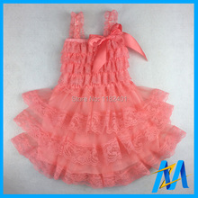 Free Shipping Baby Petti Lace Dress- Girls Peach Flower Girl Dress-Pictures, Antique Lace Petti Dress For Baby (12Pcs/lot)