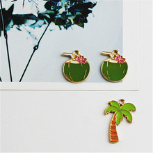 Homemade DIY accessories alloy pendant Pendant Bracelet hair oil coconut flower Straw coconut tree
