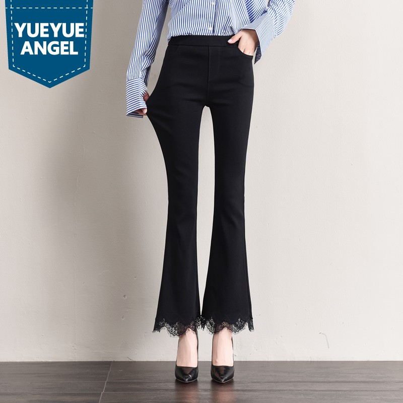 2019 New Lace Flare Pants Women Autumn Winter High Waist Black Trousers Female Plus Size 6XL Elegant Office Work Slim Fit Pants